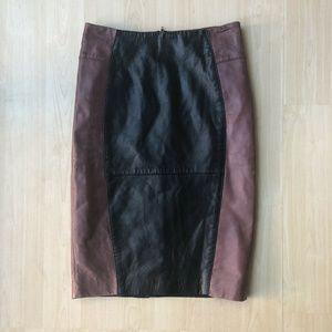ASOS Leather Distressed Midi Pencil Straight Skirt